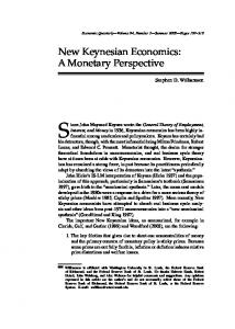 New Keynesian Economics: A Monetary Perspective - CiteSeerX