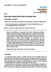 New Laser Fusion and Its Gain by Intense Laser - MDPI