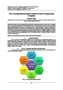 New Learning Methodology for Student of Java Programming Language