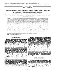 New Martensitic Steels for Fossil Power Plant: Creep Resistance