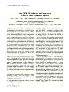 New MDR Modulators and Apoptosis Inducers from Euphorbia Species