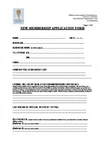 NEW MEMBERSHIP APPLICATION FORM