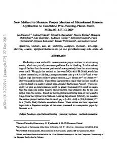 New Method to Measure Proper Motions of Microlensed Sources ...