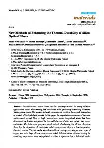 New Methods of Enhancing the Thermal Durability of Silica ... - MDPI