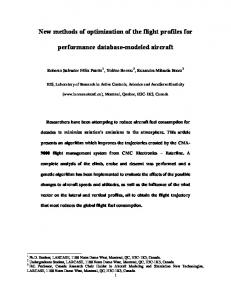 New methods of optimization of the flight profiles for ...