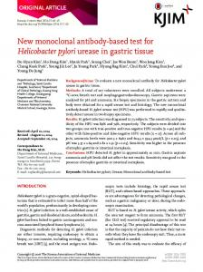 New monoclonal antibody-based test for Helicobacter pylori urease in ...