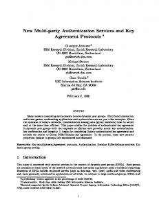 New Multi-party Authentication Services and Key Agreement Protocols
