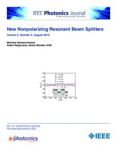 New Nonpolarizing Resonant Beam Splitters - IEEE Xplore