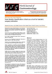 New obesity classification criteria as a tool for bariatric ...