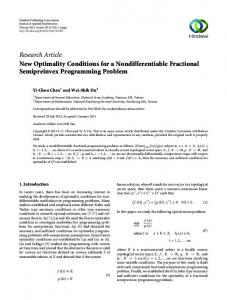 New Optimality Conditions for a Nondifferentiable Fractional ...