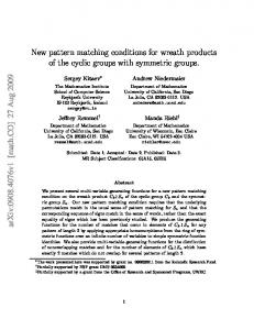 New pattern matching conditions for wreath products of the cyclic ...