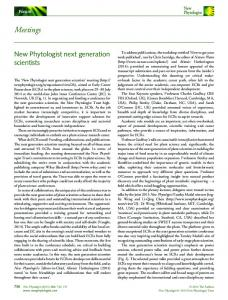 New Phytologist next generation scientists - Wiley Online Library
