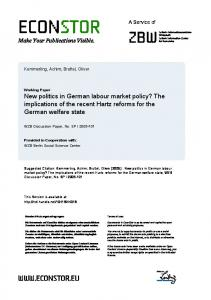 New politics in German labour market policy? The ... - EconStor