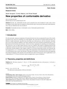 New properties of conformable derivative