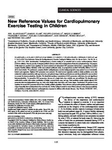 New Reference Values for Cardiopulmonary Exercise ...