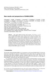 New results and perspectives of DAMA/LIBRA - EPJ Web of ...