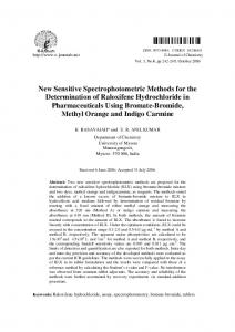 New Sensitive Spectrophotometric Methods for the ... - Hindawi