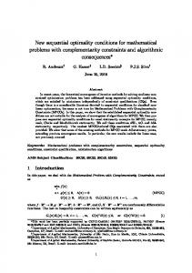 New sequential optimality conditions for ... - Optimization Online