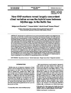 New SNP markers reveal largely concordant clinal ... - Inter Research