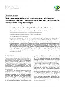 New Spectrophotometric and Conductometric Methods for Macrolide ...