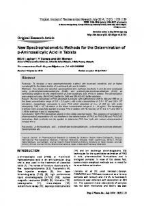 New Spectrophotometric Methods for the Determination of p ...