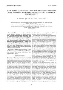new stability criteria for discrete-time systems with interval ... - SciELO