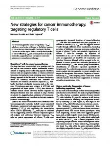 New strategies for cancer immunotherapy: targeting ... - Aperim