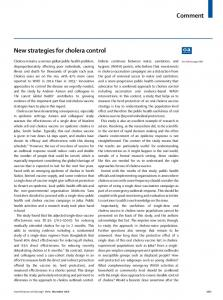 New strategies for cholera control - The Lancet