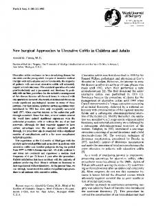 New surgical approaches to ulcerative colitis in ... - Springer Link