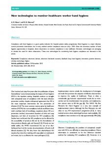 New technologies to monitor healthcare worker ... - Wiley Online Library