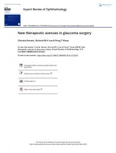 New therapeutic avenues in glaucoma surgery