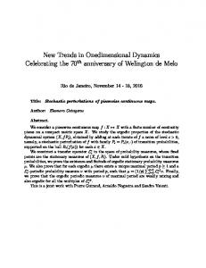 New Trends in Onedimensional Dynamics Celebrating the 70