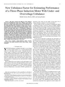 New Unbalance Factor for Estimating Performance of a ... - IEEE Xplore