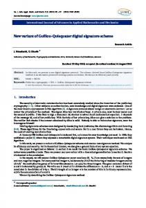 New variant of Guillou-Quisquater digital signature scheme - ijaamm