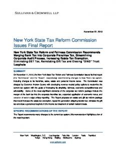 New York State Tax Reform Commission Issues Final Report