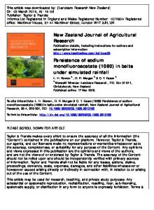 New Zealand Journal of Agricultural Research Persistence of sodium ...