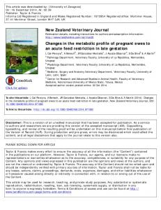 New Zealand Veterinary Journal Changes in the ...