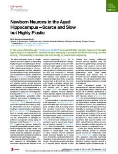Newborn Neurons in the Aged Hippocampus-Scarce and Slow but ...