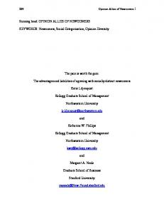 Newcomers, Social Categorization, Opinion Diversity ... - SSRN papers