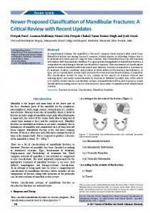 Newer Proposed Classification of Mandibular Fractures