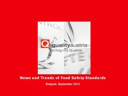 News and Trends of Food Safety Standards