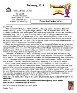 Newsletter - Trinity Lutheran Church | Arkdale, WI