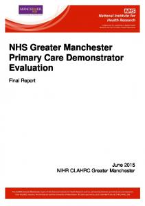 NHS Greater Manchester Primary Care Demonstrator Evaluation