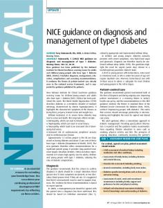 NICE guidance on diagnosis and management of type1 diabetes