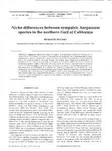 Niche differences between sympatric Sargassum ... - Inter Research