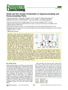 Nickel and Zinc Isotope Fractionation in Hyperaccumulating and ...