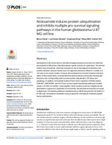 Niclosamide induces protein ubiquitination and