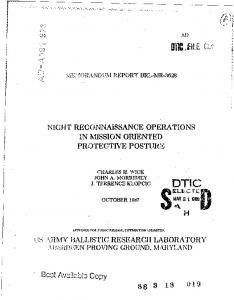 Night Reconnaissance Operations in Mission Oriented Protective ...