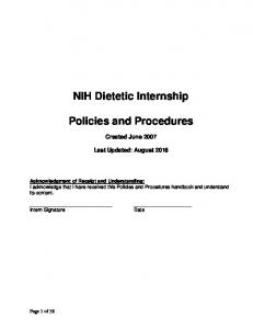 nih dietetic internship policies procedures