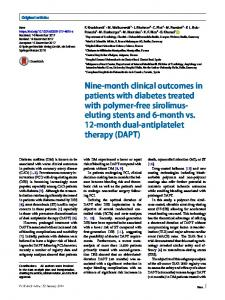 Nine-month clinical outcomes in patients with